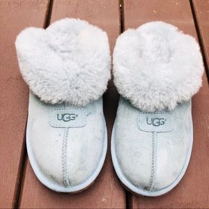 UGG Coquette Blue Suede Shearling Slippers